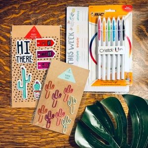 Colorful Cactus Stationary, Pens & Sticker Bundle